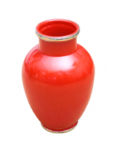 Moroccan Vase Safi Ceramic Red with Silver Border Handmade Classical Design 30cm 12""